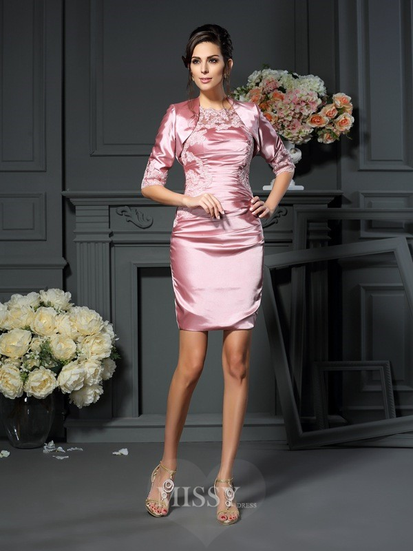 Sheath/Column Scoop Applique Sleeveless Short/Mini Elastic Woven Satin Mother of the Bride Dress