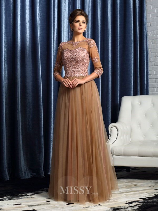 A-Line/Princess 3/4 Sleeves Scoop Floor-Length Elastic Woven Satin Mother of the Bride Dress