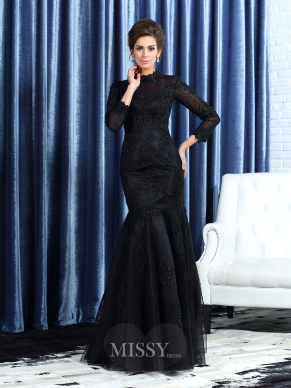 Trumpet/Mermaid High Neck Long Sleeves Tulle Floor-Length Applique Mother of the Bride Dress
