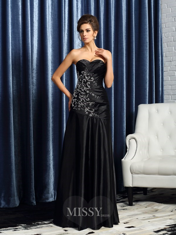 A-Line/Princess Sweetheart Satin Sleeveless Floor-Length Beading Applique Mother of the Bride Dress