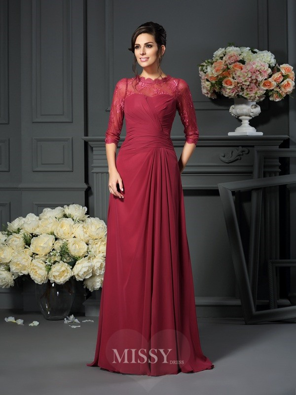 A-Line/Princess Scoop Applique 1/2 Sleeves Floor-Length Chiffon Mother of the Bride Dress
