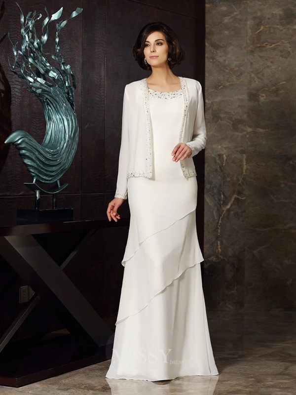 Sheath/Column Sleeveless Scoop Chiffon Floor-Length Beading Mother of the Bride Dress
