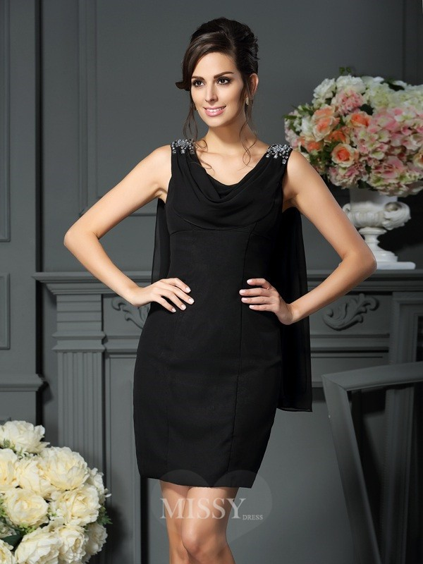 Sheath/Column Sleeveless Scoop Short/Mini Chiffon Beading Mother of the Bride Dress
