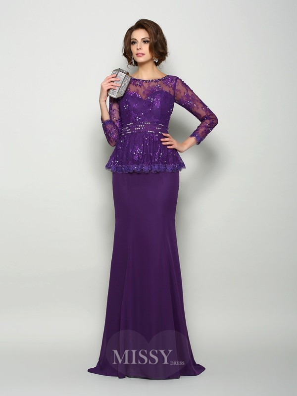 Trumpet/Mermaid Scoop Long Sleeves Chiffon Sweep/Brush Train Beading Mother of the Bride Dress