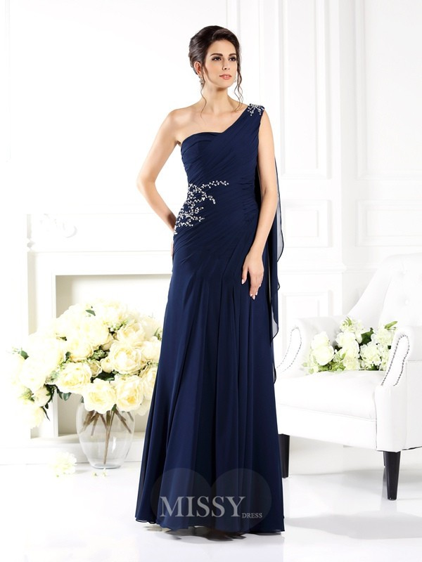 Sheath/Column Sleeveless One-Shoulder Floor-Length Chiffon Bridesmaid Dresses