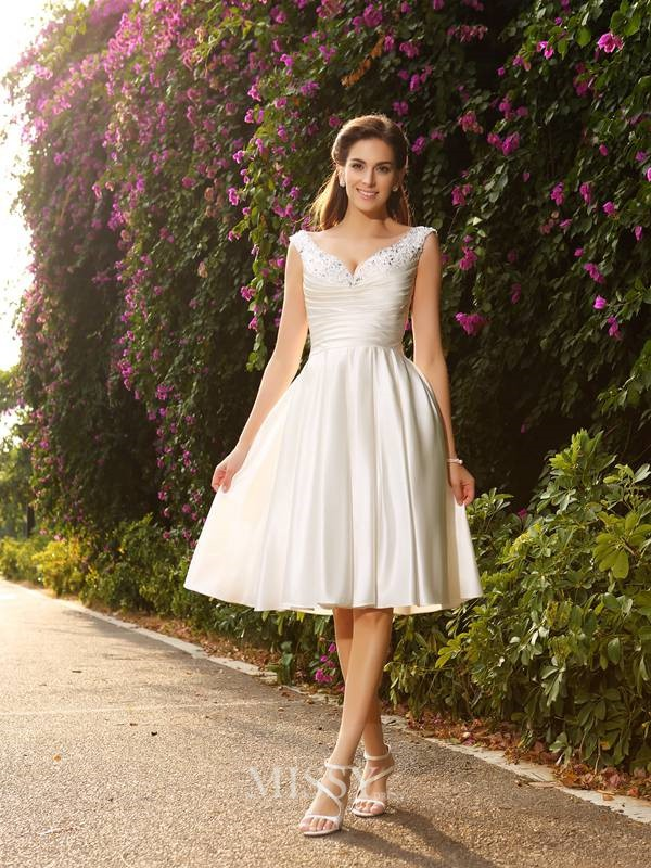 A-Line/Princess Sleeveless V-neck Satin Tea-Length Wedding Dresses