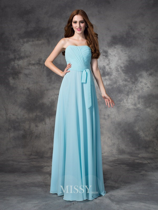 A-line/Princess Strapless Sleeveless Ruched Floor-length Chiffon Bridesmaid Dresses
