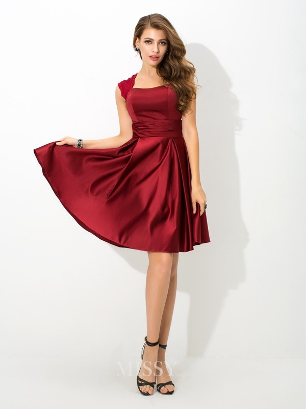 A-Line/Princess Sleeveless Straps Pleats Mini Satin Bridesmaid Dress