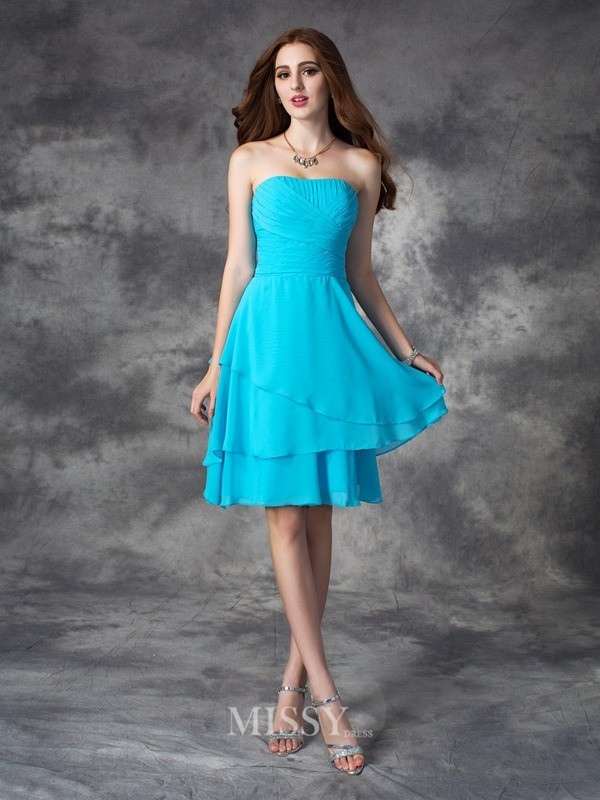 A-line/Princess Strapless Sleeveless Ruffles Mini Chiffon Bridesmaid Dresses