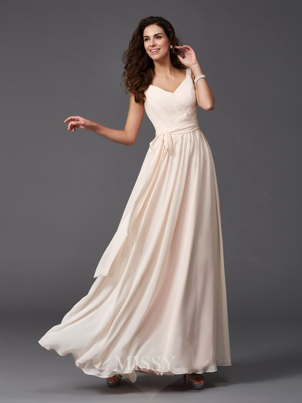 A-Line/Princess Sleeveless Straps Sash/Ribbon/Belt Floor-Length Chiffon Bridesmaid Dresses