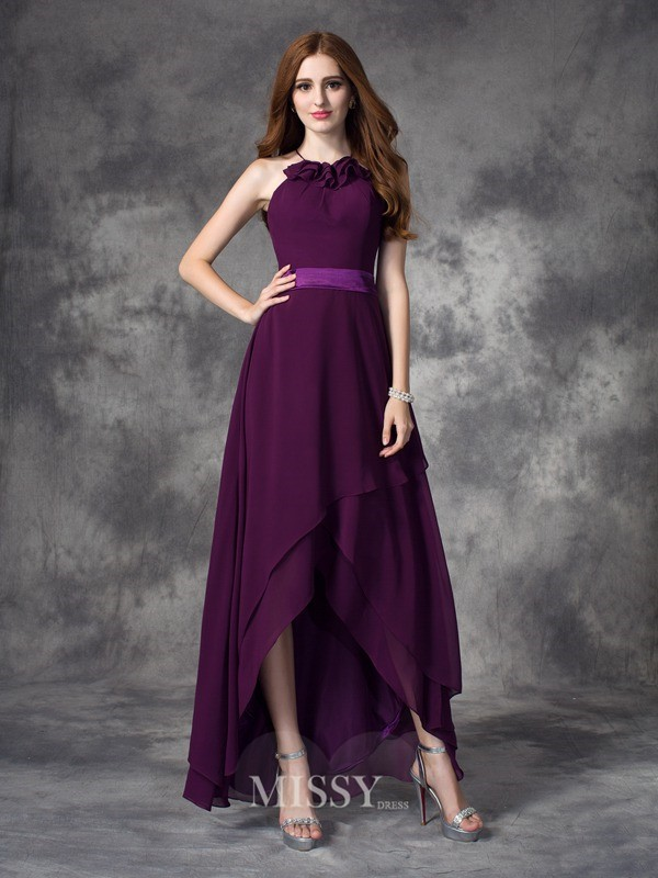 A-line/Princess Halter Sleeveless Ruffles Asymmetrical Chiffon Bridesmaid Dresses