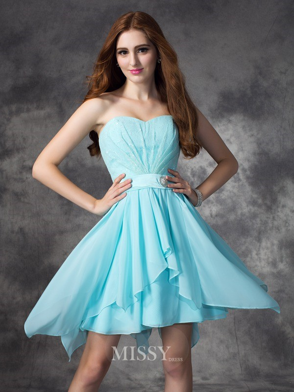 A-line/Princess Sleeveless Sweetheart Ruffles Mini Chiffon Bridesmaid Dresses