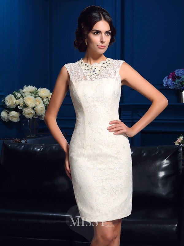 Sheath/Column Jewel Sleeveless Mini Lace Mother Of The Bride Dresses