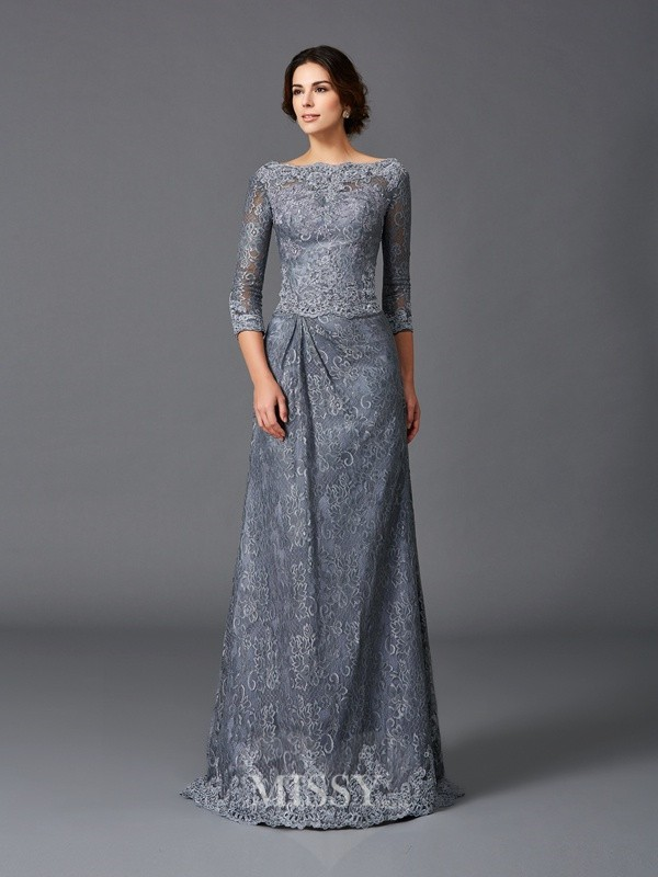 A-Line/Princess Bateau 3/4 Sleeves Lace Sweep/Brush Train Net Mother of the Bride Dresses