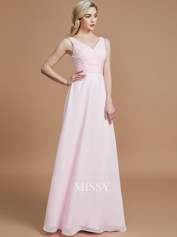 A-Line/Princess Sleeveless Floor-Length Chiffon V-neck Bridesmaid Dresses