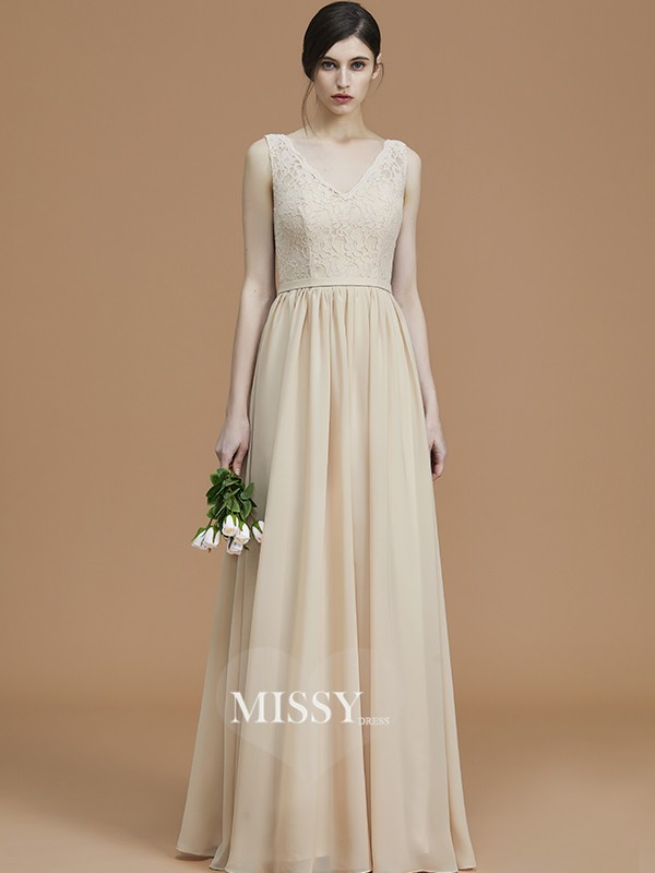 A-Line/Princess V-neck Sleeveless Floor-Length Ruffles Chiffon Bridesmaid Dresses