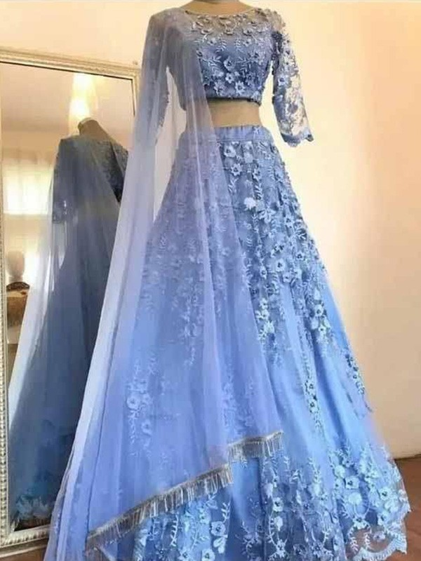 A-Line/Princess Tulle Applique Scoop 3/4 Sleeves Long Two Piece Dresses
