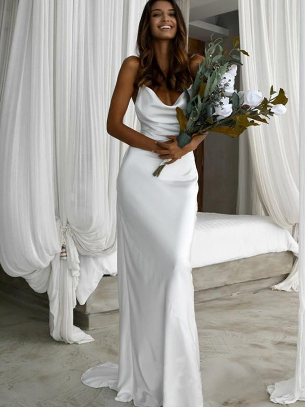 Sheath/Column Silk like Satin Ruched Spaghetti Straps Sweep/Brush Train Sleeveless Wedding Dress
