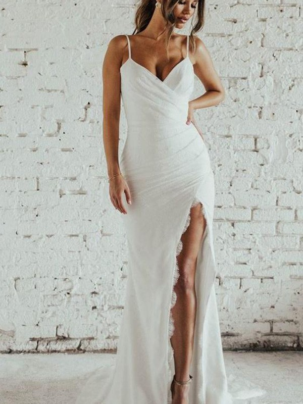 Sheath/Column Spaghetti Straps Ruched Sleeveless Chiffon Sweep/Brush Train Wedding Dress