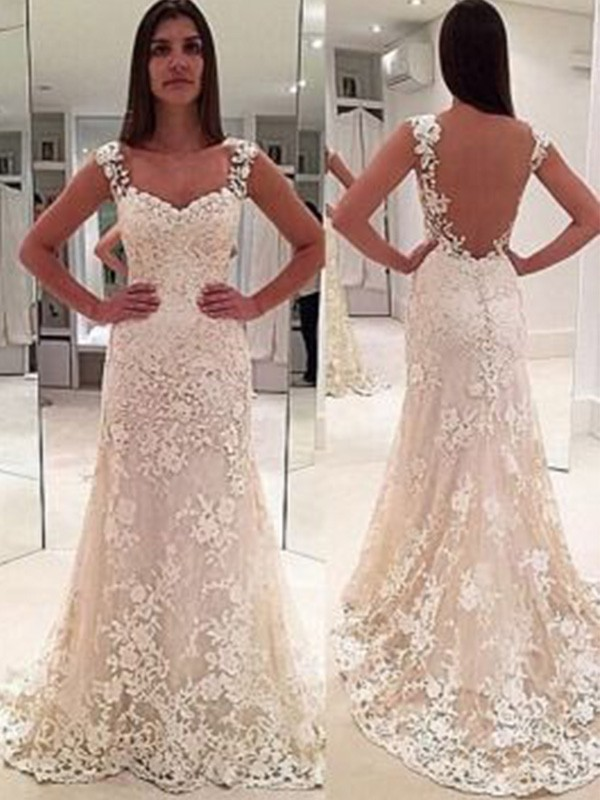 Sheath/Column Straps Sleeveless Court Train Sweetheart Applique Lace Wedding Dresses