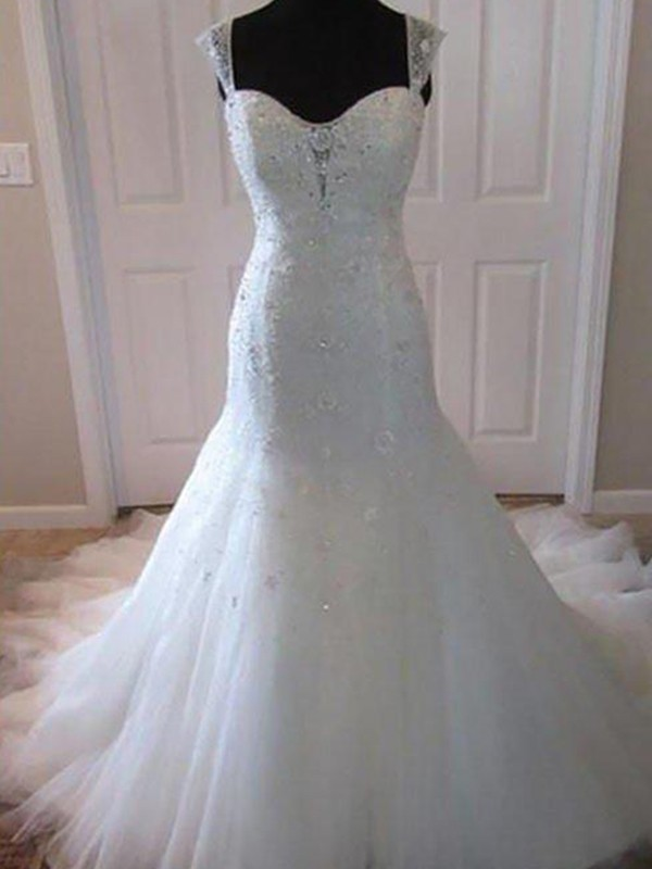 Trumpet/Mermaid Sleeveless Tulle Beading Court Train Sweetheart Wedding Dresses