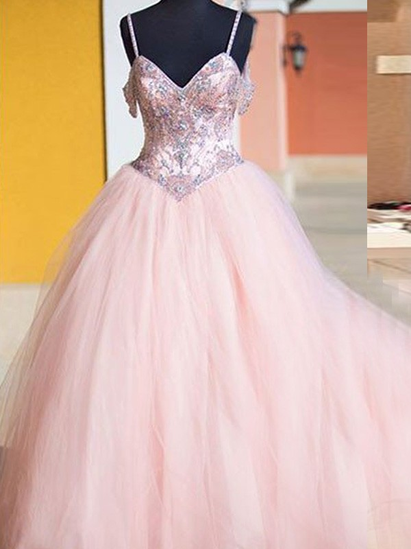 Ball Gown Sleeveless Spaghetti Straps Tulle Floor-Length Dresses