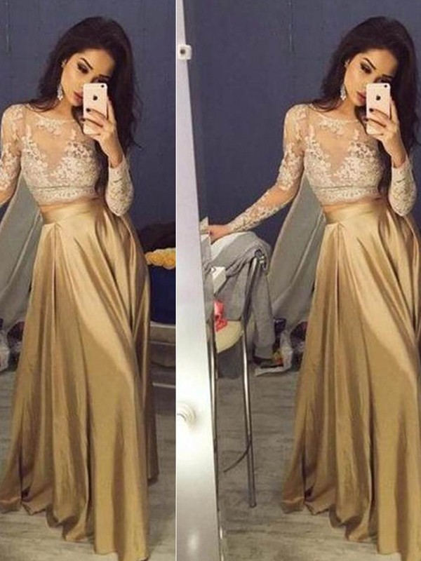 A-Line Long Sleeves Scoop Satin Applique Floor-Length Two Piece Dresses