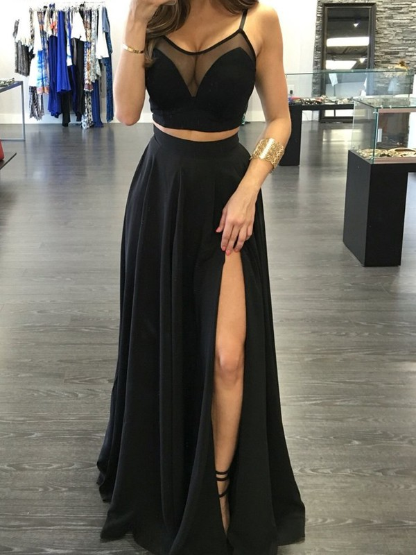 A-Line Spaghetti Straps Sleeveless Floor-Length Chiffon Two Piece Dresses
