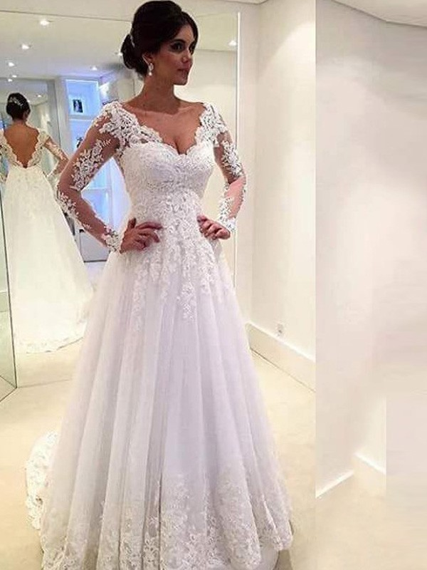 Ball Gown V-neck Long Sleeves Lace Court Train Tulle Bridal Gown