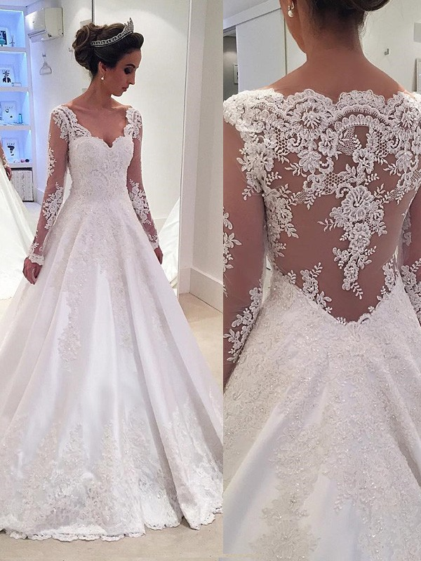 Ball Gown V-neck Long Sleeves Lace Court Train Satin Bridal Gown