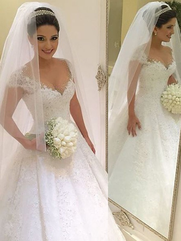 Ball Gown Sleeveless V-neck Beading Floor-Length Tulle Wedding Dress