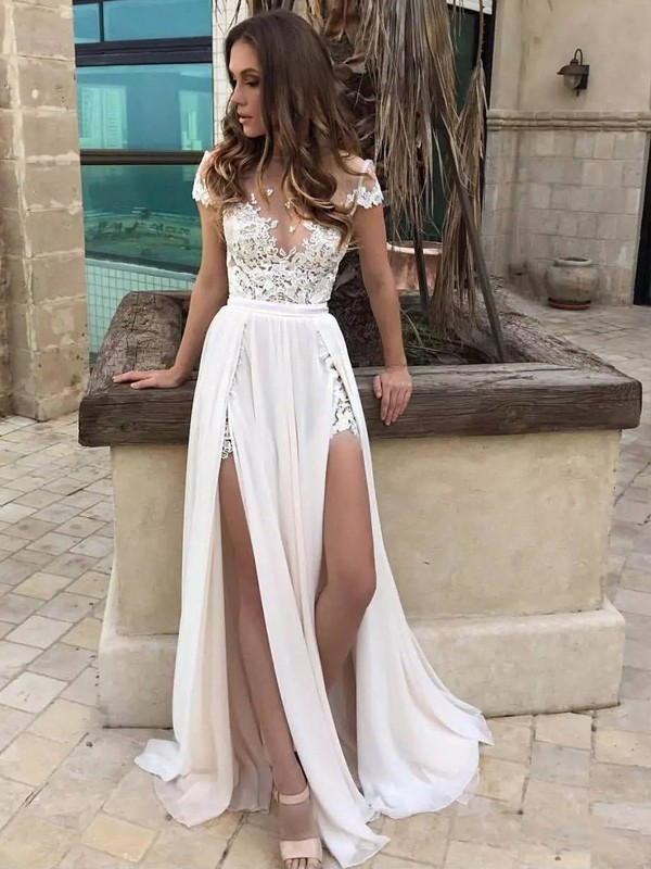 Princess V-neck Floor-Length Sleeveless Lace Chiffon Bridal Gowns