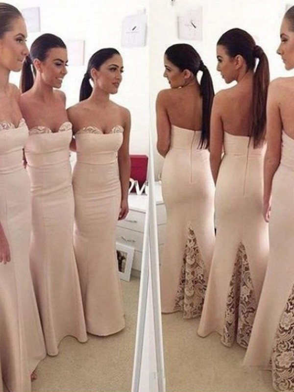 Trumpet/Mermaid Sweetheart Sleeveless Floor-Length Satin Bridesmaid Dresses