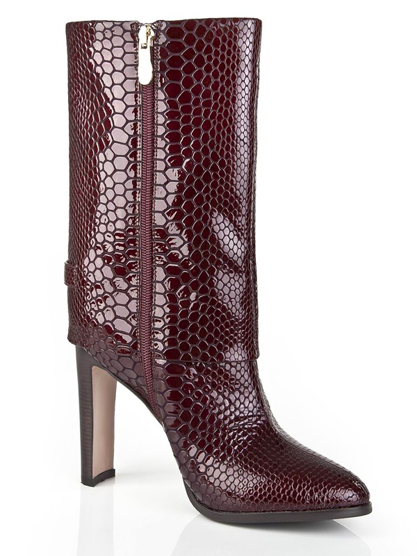 Burgundy Patent Leather Boots S5LSDN1187LF