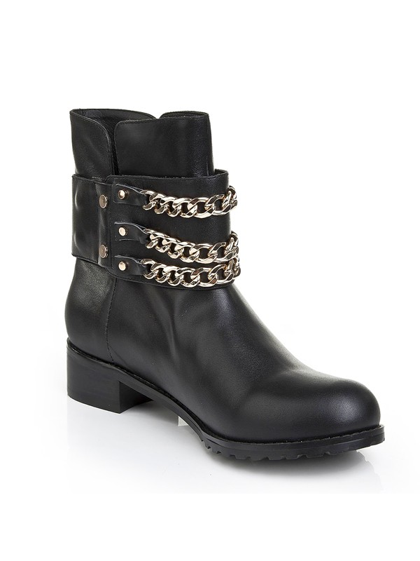 Black Cattlehide Leather Iron Chain Boots S5LSDN1199LF