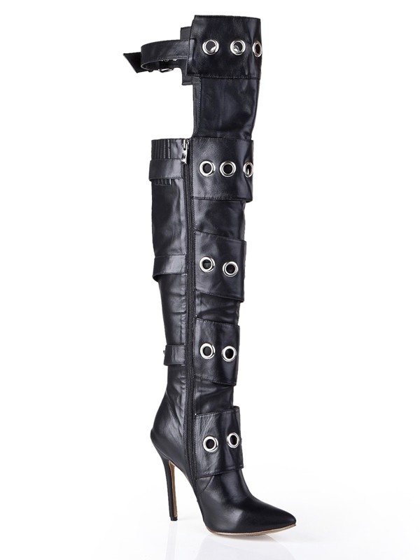 Black Cattlehide Leather Pointed Toe Boots S5LSDN1207LF