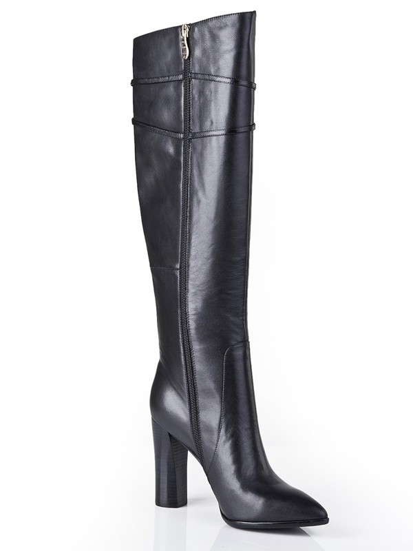 Black Thick Heel Cattlehide Leather Pointed Toe Boots S5LSDN1208LF