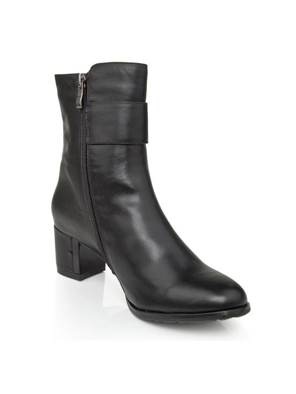 Black Cattlehide Leather Boots S5LSDN1229LF
